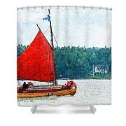 Classical Wooden Boat Tacksamheten Shower Curtain