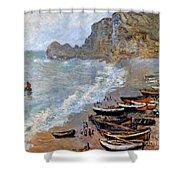 Claude Monet: Etretat, 1883 Shower Curtain