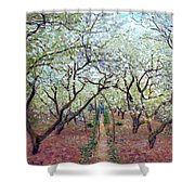 Claude Monet Orchard In Bloom Shower Curtain