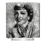 Claudette Colbert Vintage Hollywood Actress Shower Curtain