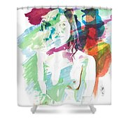 Claudia Nude Fine Art Painting Print In Sensual Sexy Color 4887. Shower Curtain