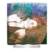 Claudia Nude Fine Art Painting Print In Sensual Sexy Color 4895. Shower Curtain