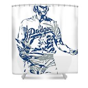 Clayton Kershaw Los Angeles Dodgers Pixel Art 10 Shower Curtain