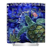 Clean Oceans Sea Turtle Art Shower Curtain