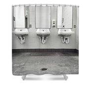 Clean Simple Public Washroom Sinks Mirrors Shower Curtain