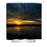 Clear Lake Sunset Shower Curtain