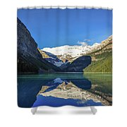 Clear Reflections In The Water At Lake Louise, Canada. Shower Curtain