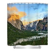 Clearing Storm - View Of Yosemite National Park From Tunnel View. Shower Curtain