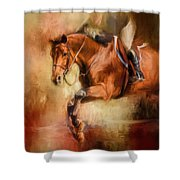 Clearing The Jump Equestrian Art Shower Curtain