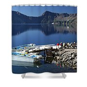 Cleetwood Cove Tour Boat Visitors, Crater Lake National Park, Oregon Shower Curtain