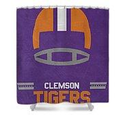 Clemson Tigers Vintage Football Art Shower Curtain