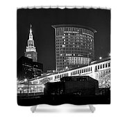 Cleveland Black And White Panoramic Shower Curtain