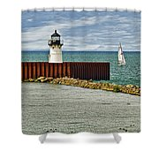 Cleveland Harbor Small Lighthouse Shower Curtain