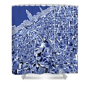 Cleveland Map Blue Shower Curtain