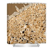 Cleveland Map Sepia Shower Curtain
