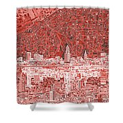 Cleveland Skyline Abstract 10 Shower Curtain