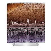 Cleveland Skyline Abstract 2 Shower Curtain