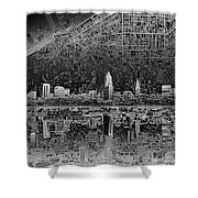 Cleveland Skyline Abstract 3 Shower Curtain