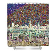 Cleveland Skyline Abstract 8 Shower Curtain