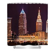 Cleveland Skyline Night Color - Downtown Buildings Shower Curtain