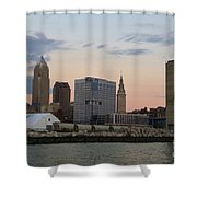 Cleveland Skyline And Port On The Cuyahoga River Shower Curtain