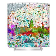 Cleveland Skyline Watercolor 2 Shower Curtain