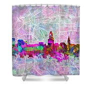 Cleveland Skyline Watercolor Shower Curtain