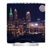 Cleveland With Full Moon Shower Curtain