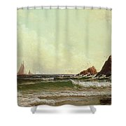 Cliffs At Cape Elizabeth Shower Curtain by Alfred Thompson Bricher