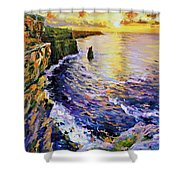 Cliffs Of Moher At Sunset Shower Curtain by Conor McGuire