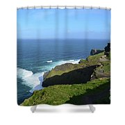 Cliff's Of Moher With White Water At The Base In Ireland Shower Curtain