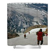 T-204805-climbing Party Mt. Rainier  Shower Curtain