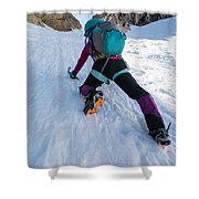 Climbing The North Coulior On Mcgown Peak Shower Curtain