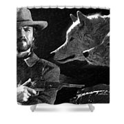 Clint Eastwood With Wolves Shower Curtain