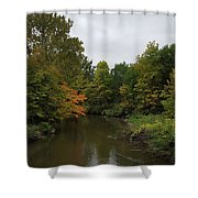 Clinton River In Autumn Cloudy Day Shower Curtain