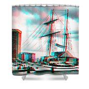 Clipper City - Use Red-cyan 3d Glasses Shower Curtain
