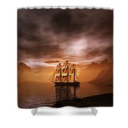 Clipper Ship At Sunset Shower Curtain