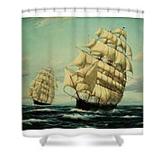 Clipper Ships Racing To Port Shower Curtain