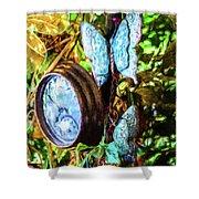Clock And Butterflies R1 3580vt - Photo Art Shower Curtain