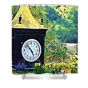 Clock Tower In The Garden Shower Curtain