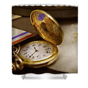 Clockmaker - Time Never Waits  Shower Curtain