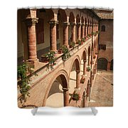 Cloistered Courtyard Shower Curtain