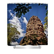 Cloning Out Tourists At Ta Prohm Temple, Angkor Archaeological Park, Siem Reap Province, Cambodia Shower Curtain