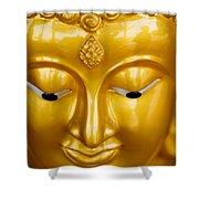 Close-up Of A Golden Buddha Shower Curtain