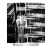 Close Up Of Black And White Glass Building Shower Curtain