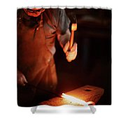 Close-up Of  Blacksmith Forging Hot Iron Shower Curtain