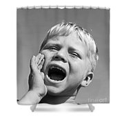 Close-up Of Boy Shouting, C.1950s Shower Curtain