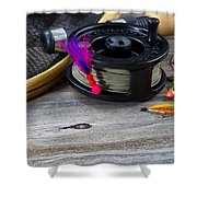 Close Up Of Fly Reel With Fly Jig Hanging From Spool  Shower Curtain