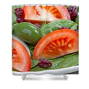Close Up Of Fresh Spinach Salad On White Plate  Shower Curtain