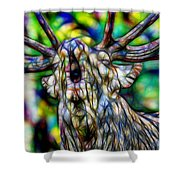 Close Up Of Huge Male Elk Bugling Shower Curtain
